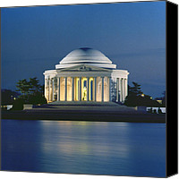 Thomas Jefferson Canvas Prints - The Jefferson Memorial Canvas Print by Peter Newark American Pictures