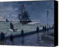 Impressionism Canvas Prints - The Jetty at Le Havre in Bad Weather Canvas Print by Claude Monet