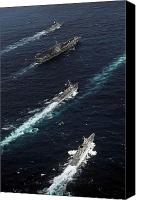 Boats Canvas Prints - The John C. Stennis Carrier Strike Canvas Print by Stocktrek Images