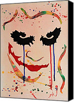 Georgeta Blanaru Canvas Prints - The Joker Heath Ledger original watercolor Canvas Print by Georgeta  Blanaru