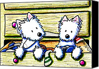 Westies Canvas Prints - The Joy Of Socks Canvas Print by Kim Niles