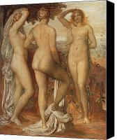 Mythological Canvas Prints - The Judgement of Paris Canvas Print by George Frederic Watts
