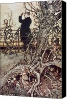 Fairies Drawings Canvas Prints - The Kensington Gardens are in London where the King lives Canvas Print by Arthur Rackham