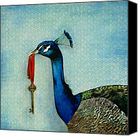 Blue Painting Canvas Prints - The Key To Success Canvas Print by Carrie Jackson