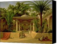 Bathing Painting Canvas Prints - The Khabanija Fountain in Cairo Canvas Print by Grigory Tchernezov