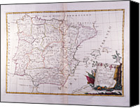 Antique Map Digital Art Canvas Prints - The Kingdom Of Spain And Portugal Divided Canvas Print by Fototeca Storica Nazionale