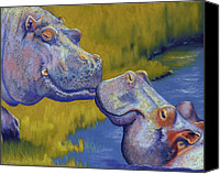 Lake Canvas Prints - The Kiss - Hippos Canvas Print by Tracy L Teeter