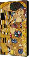 Artwork   Canvas Prints - The Kiss After Gustav Klimt Canvas Print by Darlene Keeffe
