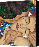 Modern Art Canvas Prints - The Kiss Close Up Canvas Print by Darlene Keeffe