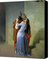 Oil On Canvas Canvas Prints - The Kiss Canvas Print by Francesco Hayez