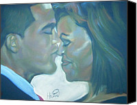 Black Family Pastels Canvas Prints - The Kiss Canvas Print by Kevin Harris