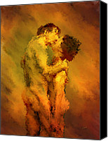 Couples Digital Art Canvas Prints - The Kiss Canvas Print by Kurt Van Wagner