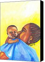 Senegal Canvas Prints - The Kiss of A Mother in Senegal Canvas Print by Emmanuel Baliyanga