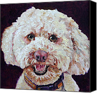 Pet Portrait Canvas Prints - The Labradoodle Canvas Print by Enzie Shahmiri