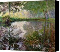 Monet Painting Canvas Prints - The Lake at Montgeron Canvas Print by Claude Monet
