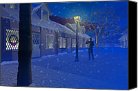 Flurries Canvas Prints - The lamplighter Canvas Print by Carol and Mike Werner