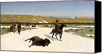 Change Painting Canvas Prints - The Last of the Herd Canvas Print by Henry Francois Farny