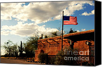 Tv Set Canvas Prints - The Last Outpost Old Tuscon Arizona Canvas Print by Susanne Van Hulst