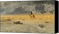 Western Digital Art Canvas Prints - The Last Ranger Canvas Print by Dieter Carlton