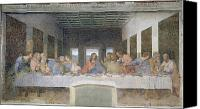 Fresco Canvas Prints - The Last Supper Canvas Print by Leonardo da Vinci