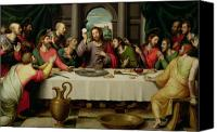 Wine Canvas Prints - The Last Supper Canvas Print by Vicente Juan Macip