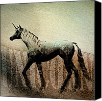 Watercolor Canvas Prints - The Last Unicorn Canvas Print by Bob Orsillo
