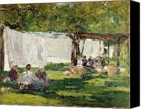 Le Jardin Canvas Prints - The Laundry at Collise St. Simeon  Canvas Print by Eugene Louis Boudin