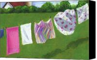 Wash Pastels Canvas Prints - The Laundry on the Line Canvas Print by Joyce Geleynse