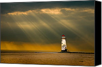 Wales Canvas Prints - The Lighthouse As The Storm Breaks Canvas Print by Meirion Matthias