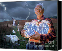Farm Tapestries Textiles Canvas Prints - The Lightning Catchers Canvas Print by Bryan Allen