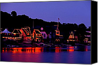 Boathouse Row Canvas Prints - The Lights of Boathouse Row Canvas Print by Bill Cannon
