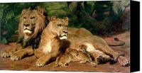 Suckling Canvas Prints - The Lions at Home Canvas Print by Rosa Bonheur