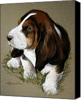 Hanging Pastels Canvas Prints - The Little Basset Canvas Print by Mary Sparrow Smith