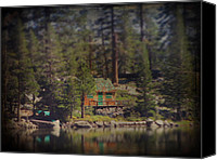 Pine Trees Canvas Prints - The Little Cabin Canvas Print by Laurie Search