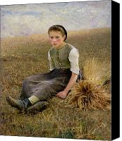 Harvesting Canvas Prints - The Little Gleaner Canvas Print by Hugo Salmon