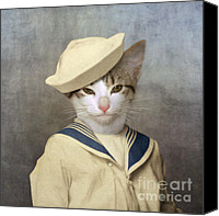 Cat Boy Digital Art Canvas Prints - The Little Rascal Canvas Print by Martine Roch