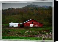 Old Country Roads Canvas Prints - The Little Red Barn Canvas Print by Lj Lambert