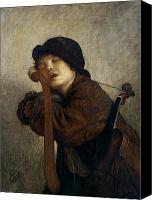 Asleep Painting Canvas Prints - The Little Violinist Sleeping Canvas Print by Antoine Auguste Ernest Hebert