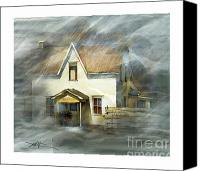 Ontario Mixed Media Canvas Prints - The Little White House On Hwy 6 Canvas Print by Bob Salo