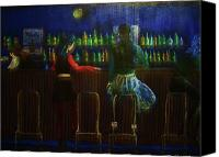 Bars Painting Canvas Prints - The Local Bar Canvas Print by Reb Frost