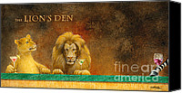 Lion Painting Canvas Prints - The Loins Den... Canvas Print by Will Bullas