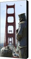 San Francisco Digital Art Canvas Prints - The Lone Sailor Canvas Print by Mike McGlothlen