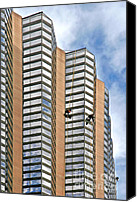 Job Canvas Prints - The Loneliness of the Skyscraper Window Cleaner Canvas Print by Christine Till