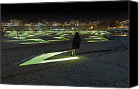 Bench Canvas Prints - The Lonely Tourist at Pentagon Memorial Canvas Print by Metro DC Photography