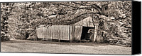 White Barn Canvas Prints - The Long Barn Canvas Print by JC Findley