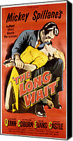 1950s Movies Canvas Prints - The Long Wait, Anthony Quinn, Peggie Canvas Print by Everett