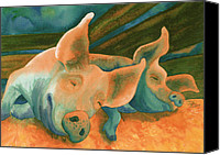 Pig Painting Canvas Prints - The Lucky Ones Canvas Print by Tracy L Teeter