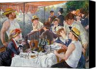 Dog Glass Canvas Prints - The Luncheon of the Boating Party Canvas Print by Pierre Auguste Renoir