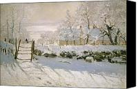 Monet Painting Canvas Prints - The Magpie Canvas Print by Claude Monet