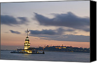 Byzantine Photo Canvas Prints - The Maidens Tower  Canvas Print by Ayhan Altun